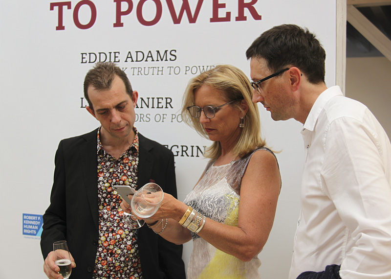 Opening SPEAK TRUTH TO POWER. From the left: Luca Zanier, artist, Kerry Kennedy, president of the Robert F. Kennedy Foundation and Guido Baumgartner, curator of the exhibition