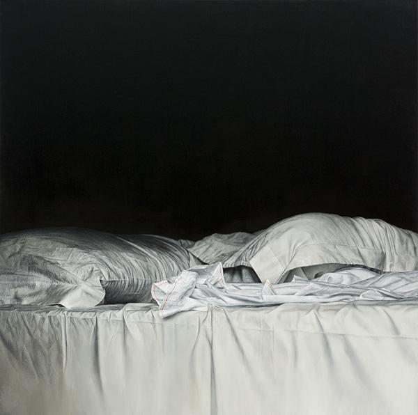 Christoph Eberle «Bett 3», 2016, 100 × 100 cm, Öl auf Leinwand